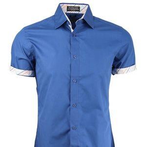 Trimmed Short Sleeved Dress Shirt